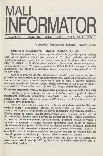 Mali informator, 1994/1868