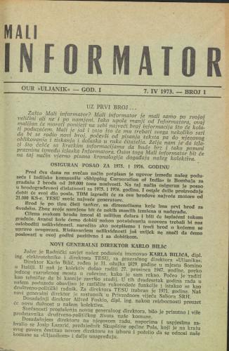 Mali informator, 1973/1