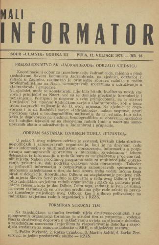 Mali informator, 1975/98